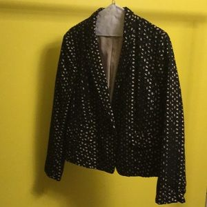 Ann Taylor Loft black patterned long sleeve blazer